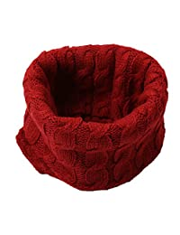 Winter Solid Color Thick Knit Soft Warm Wool Scarf Wrap, Dark Red