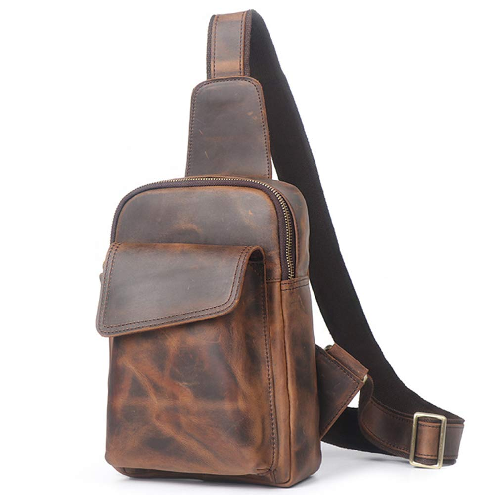 Style 1  Crazy Horse Leather Dark brown Vintage Men's Real Leather Chest Bag Business Casual Outdoor Sling Bag (Style 25  Dark Brown)