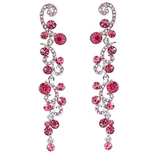 Dangle Wave (EVER FAITH Bridal Flower Wave Austrian Crystal Dangle Earrings Silver-Tone - Pink)