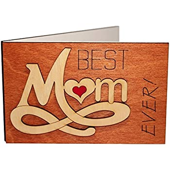 Handmade Real Wood Best Mom Ever Forever Love Greeting Card Happy Birthday Gift For Your Godmother Stepmom Mother In Law Unique Mothers Day Present