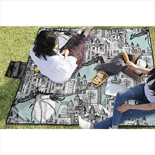 - Suniy Picnic Blanket Dragon Kingdom Winter Toile Blue Waterproof Extra Large Outdoor Mat Camping Or Travel Easy Carry Compact Tote Bag 59
