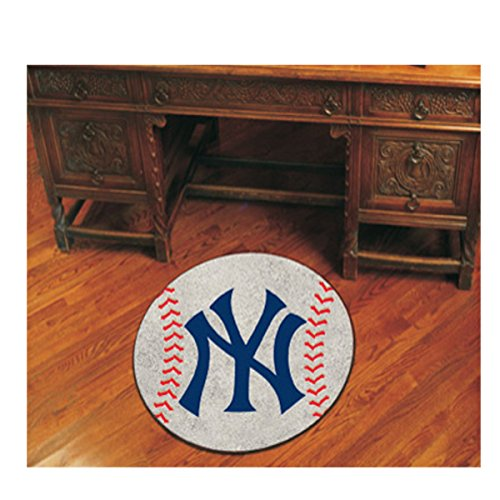 MLB - New York Yankees Baseball Mat 27 Inch Diameter Non Skid Rug Mat Floor Protector - New York Yankees Baseball Rug