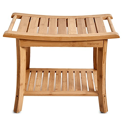 WELLAND Shower Bench with Storage Shelf, Bamboo Shower Seat Stool, Large Size 23.5-Inch x 13-Inch x 18-Inch