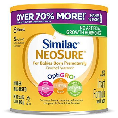 Similac NeoSure Infant Formula with Iron, For Babies Born Prematurely, Powder, 22.8 oz (Pack of 4)