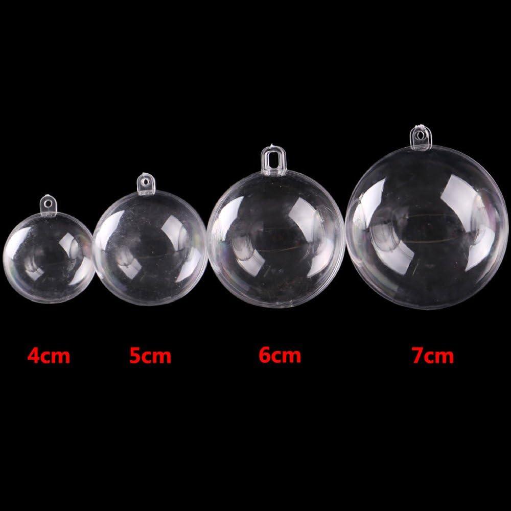 ISusser 24pcs Clear Plastic Fillable Ball Ornament Christmas Wedding Party Decor Bath Bomb Crafting Mold DIY Plastic Ball