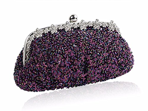Handbags Bags Violet Bags Shoulder Xjtnlb Decorated With Beads Skew Dinner Sequins Gules Sequins Embroidered Bead Bags Awq5Y
