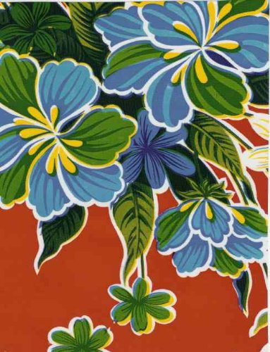 Oilcloth - Hibiscus Red (Oilcloth Covering Floor)