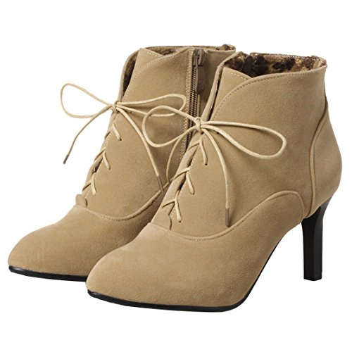 Shoes Stiletto Boots Zip Ladies AIYOUMEI Pointed Boots up Apricot High Lace Toe Ankle Heel qw0v7d