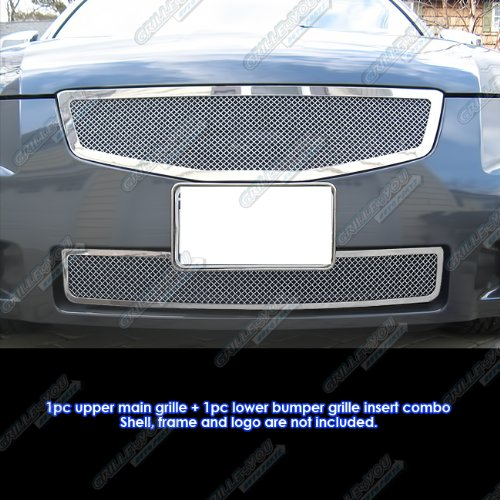 (APS Fits 07-08 Nissan Maxima Stainless Steel Mesh Grille Combo #N77899T)