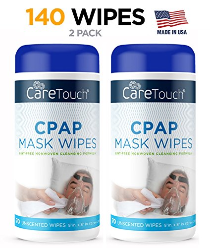 Care Touch CPAP Cleaning Mask Wipes - Unscented, Lint Free - 70 Wipes, Pack of 2-140 Wipes - Mada Equipment