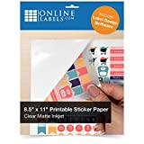 Clear Matte Frosted Sticker Paper, 8.5 x 11 Full