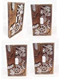 STEAMPUNK PAINTED GEARWORK STANDARD SWITCH PLATE SET OF FOUR