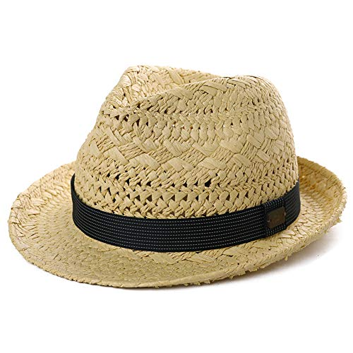 Mens Summer Hats Fedora Panama Straw Womens Kentucky Derby Packable Cuban Havana Party Ladies Beige Large Black Band ()