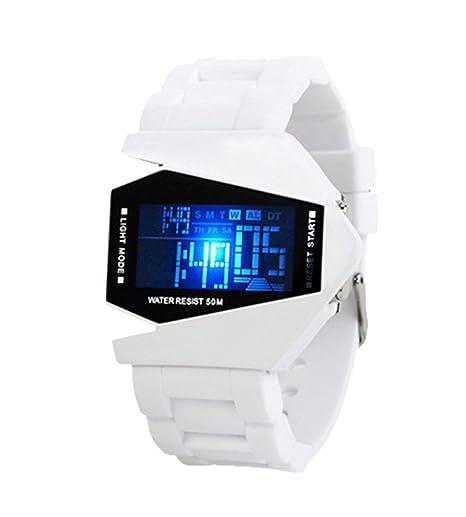 Fashion Metal avión personalizado creativo hombres del LED Digital reloj Jelly Vintage y Color blanco banda reloj de pulsera deportivo: Amazon.es: Relojes