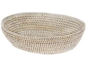 KOUBOO La Jolla Rattan Bread Bowl, White Wash
