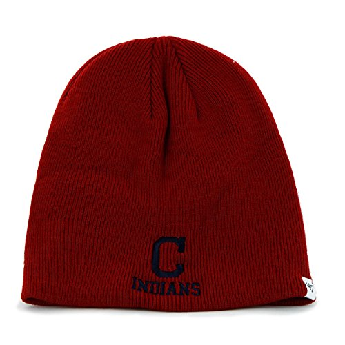 Cleveland Indians Red Skull Cap - MLB Cuffless Winter Knit Toque Beanie Hat