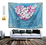 SUNH0ME Love Heart Flowers Tapestry, Bohemian Wall Tapestry Wall Hanging Tapestry - Wall Indian Decorations Wall Art Living Room Bedroom Dorm Room 50 x 60 inches