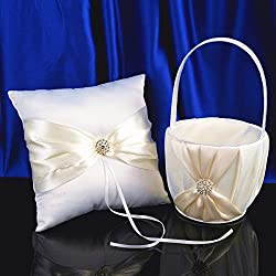 AW Wedding Flower Girl Basket and Ring Bearer Pillow Set with Rhinestones