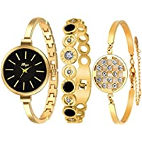 AutumnFall Womens Swarovski Crystal Accented Gold-Tone and Black Bangle Watch with Bracelet Set (609G)