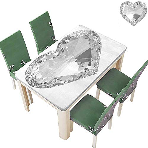 - Natural Tablecloth Big Diamonds Precious Gems Stones Heart Rock Romance Love Crystal Design Gray and for Home Use, Machine Washable 52 x 108 Inch (Elastic Edge)