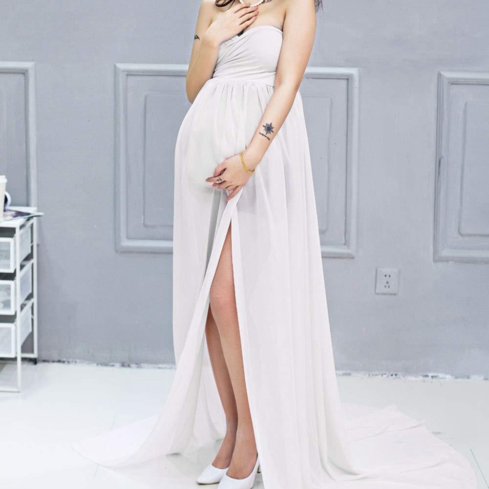 Biitfuu Atrezzo de fotograf/ía de Maternidad Vestido Embarazo Sesi/ón de Fotos Bata Madres Embarazadas Fuera del Hombro Vestido Largo