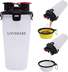 Pet Travel Water Bottle & Food Container,LOVSHARE 2 in 1 Dog Food and Water Container with 2 Collapsible Bowls, Portable Dog Feeder Drinking Cup for Outdoor Walking and Travelling