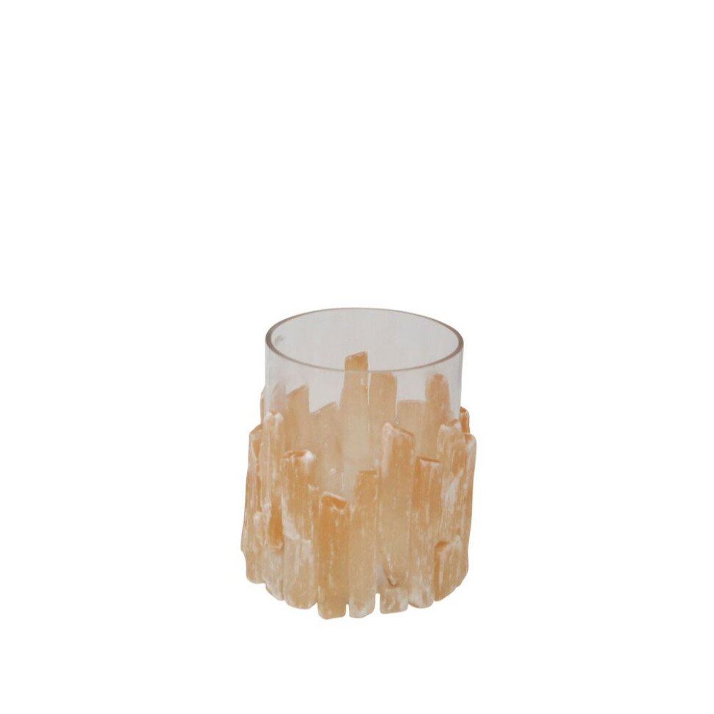 Benzara Fine-Looking Selenite and Glass Hurricane Candleholder, Orange