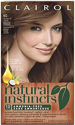 Clairol Natural Instincts, 6G / 12 Toasted Almond Light Golden Brown, Semi-Permanent Hair Color, 1 - Toasted Almond Light