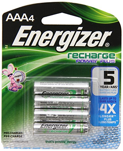 Energizer NH12BP Rechargeable Nickel Metal Hydride AAA Battery 700mAh, Pack of 4