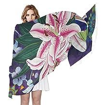 LORVIES Lily Silk Scarf Lightweight Long Scarf Shawl Wrap for Women