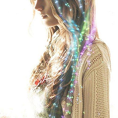 Velidy 5束セット 光るファイバーエクステ 髪付け -クリスマス コスプレ 衣装 ダンス パーティーグッズ 光るグッズ EDM 光るおもちゃ パーティー動画