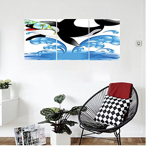 Liguo88 Custom canvas Funny Decor Summer Holiday Ocean Cute Jumping Killer Whale With Sunglasses Cartoon Animal Love Theme Bedroom Living Room Decor Black - Brown And Sunglasses Ross
