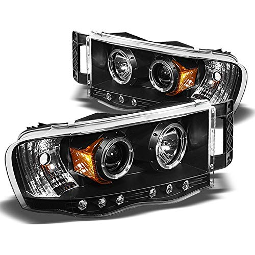 Xtune 2002-2005 Dodge Ram Twin Halo LED Projector Headlights Black Head Lights Lamp Pair Left+Right 2003 2004 ()