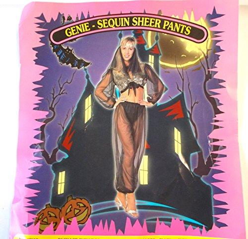 Genie Black Sequin Top Black Sheer Pants Adult Costume Medium NIP (Black Genie Costume)