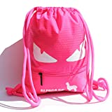Drawstring Bags Water Resistant Large Backpack Gym Bags for Basketball Sport Gym (Large, Eyes Pink)