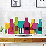 kitchen 67 happy hour iPrint LCD TV dust Cover Strong Durability,Kitchen Decor,Pop Art Wine Bottles and Glasses Background Bar Party Happy Hour Retro Design,White Pink Blue Green,Picture Print Design Compatible 47