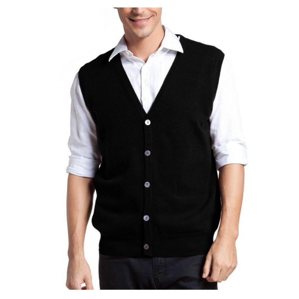 Parisbonbon Men's 100% Cashmere V-Neck Cardigan Vest Color Black Size XL by Parisbonbon