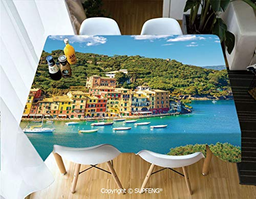 Vinyl tablecloth Portofino Landmark Aerial Panoramic View Village and Yacht Little Bay Harbor Decorative (60 X 104 inch) Great for Buffet Table, Parties, Holiday Dinner, Wedding & More.Desktop decora