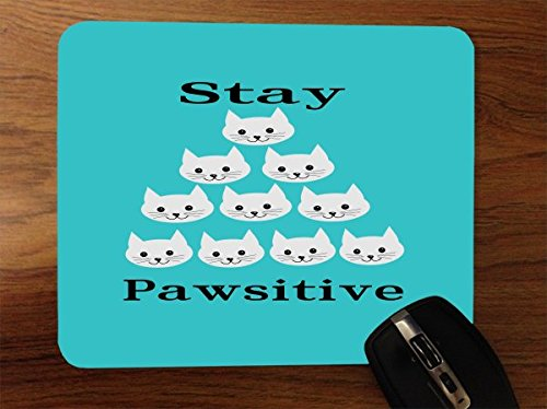 Stay Pawsitive Cat Kitten Kitty Positive Teal Blue Desktop Office Silicone Mouse Pad by Moonlight - Desktop Kitty