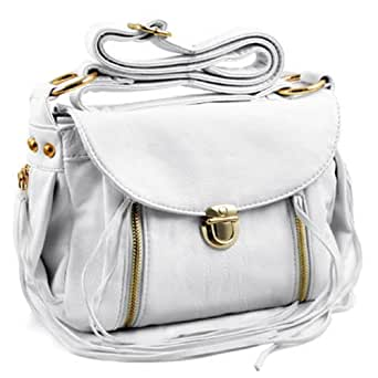 Zippered Cross-Body Handbag (White)