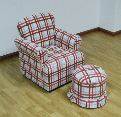 4d Concepts Ottoman (4D Concepts Rolled Arm Chair with Round Ottoman Plaid)