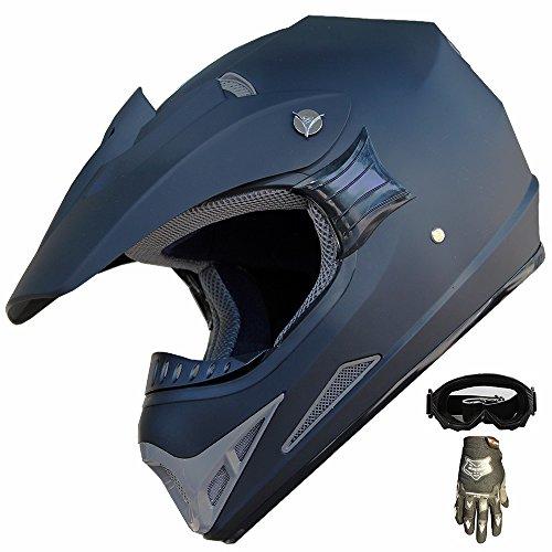 Mx Combo Box (ATV Motocross Dirt Bike Helmet Off Road Combo 405 Matt Black+Gloves+Goggles (XL))