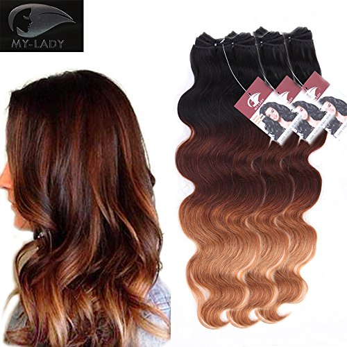Ombre Body Wave Brazilian Virgin Human Hair 3 Bundles of Mixed Length 16 18 20'' Long 7A Unprocessed Remy Hair Natural Black to Light Auburn to Dark Blonde - Auburn In Mall Stores