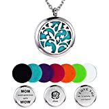 Mother's Day Gift Aromatherapy Essential Oil Diffuser Necklace, Hypoallegenic Stainless Steel Tree of Life Locket with 23