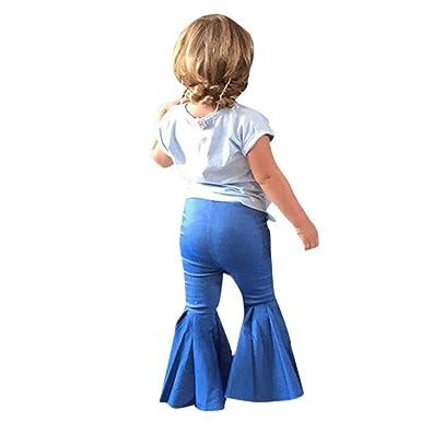 9b03bc33f Rucan Kid Baby Girls Denim Pants Children Jeans Bell-Bottoms Trousers (Blue,  2