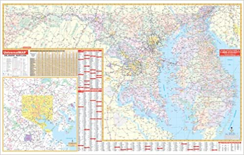 Amazon.com: Delaware/Maryland Wall Map - 77x50 - Laminated on Roller ...