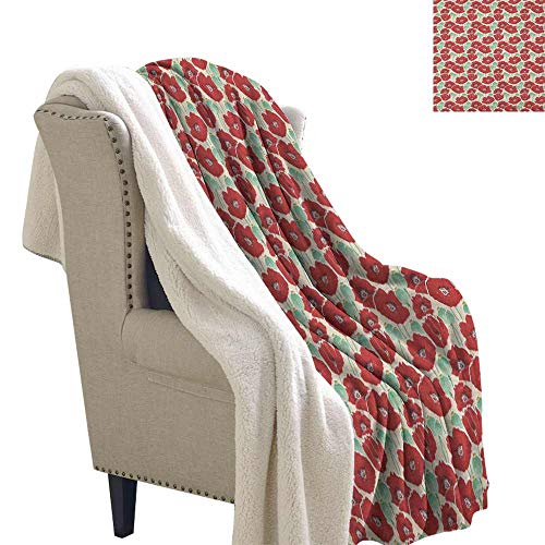 Willsd Poppy Fleece Blanket Spring Garden Pattern with Red Blossoms Seed Capsules and Little Dots Soft Blanket Microfiber Mint Green Ruby and Beige W59 x L31