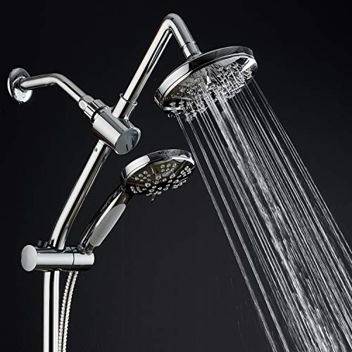 Spa Station 34'' Adjustable Drill-Free Slide Bar with 48-setting Showerhead Combo & Height Extension Arm / 3-way Rain & Handheld Shower Head/Low Reach Diverter/Stainless Steel Hose/Chrome by Hotel Spa (Image #1)