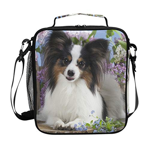 Portable Lunch Box Insulated Cooler Lunch Bag Prep Kids Teens Adult Papillon Dog Butterfly Meal Lunch Tote Freezable Shoulder Strap for School Office