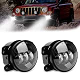 "Black 4"" Inch Round Cree Fog Light Driving Led Lamp For 07-17 Jeep Wrangler JK CJ TJ"